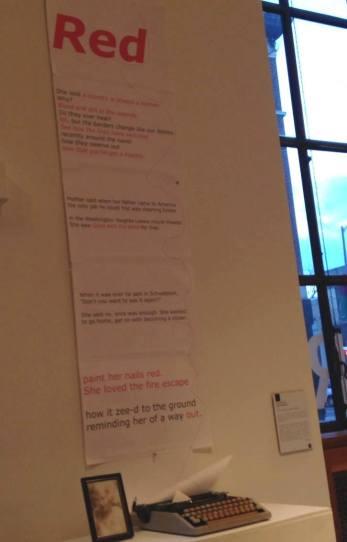 Red poem with typewriter